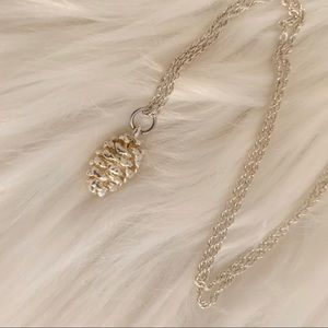 Silver Toned Pinecone Pendant Necklace